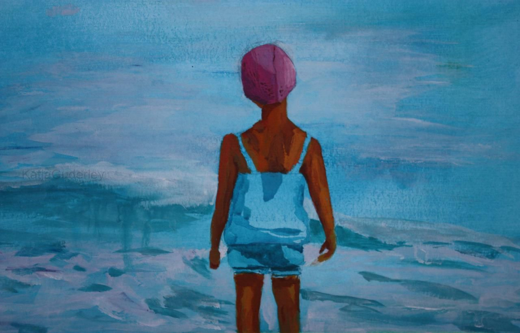 """Crossing the ocean """"You can never cross the ocean unless you have the courage to lose sight of the shore!""""     Christopher  Columbus  41 x 24 cm, Acryl auf Papier"""